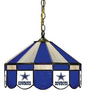 Dallas Cowboys 16 Inch Diameter Stained Glass Pub Light