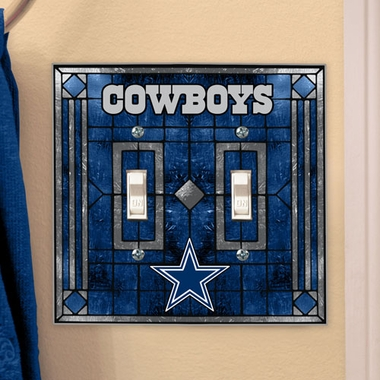Dallas Cowboys Art Glass Lightswitch Cover (Double)