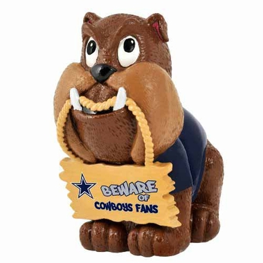 Dallas Cowboys Bulldog Holding Sign Figurine
