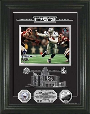 Dallas Cowboys Emmitt Smith Silver Coin HOF Induction Etched Glass Photo Mint