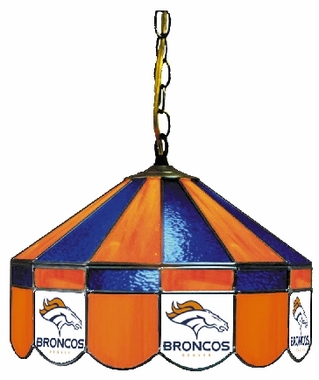 Denver Broncos 16 Inch Diameter Stained Glass Pub Light
