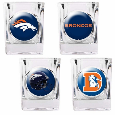 Denver Broncos 4 Piece Assorted Shot Glass Set
