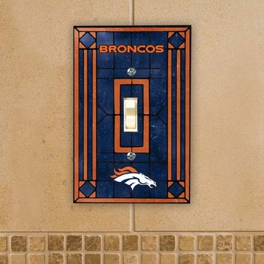 Denver Broncos Art Glass Lightswitch Cover