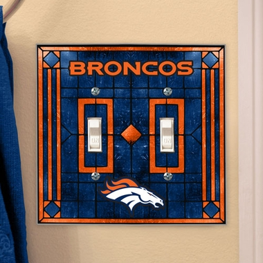 Denver Broncos Art Glass Lightswitch Cover (Double)