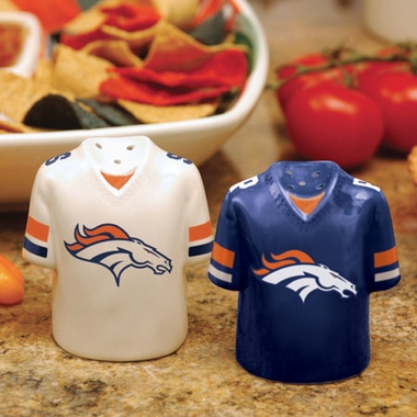 Denver Broncos Ceramic Jersey Salt and Pepper Shakers