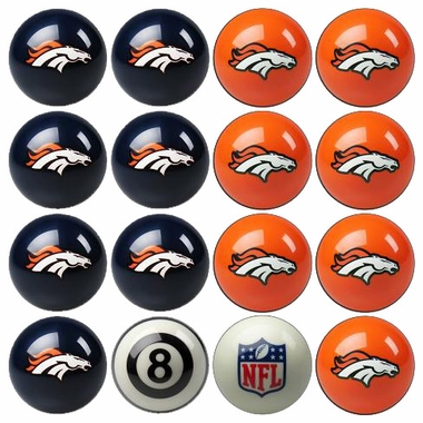 Denver Broncos Home and Away Complete Billiard Ball Set