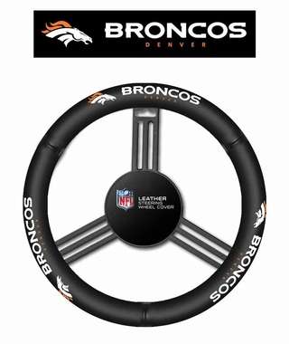 Denver Broncos Steering Wheel Cover - Leather