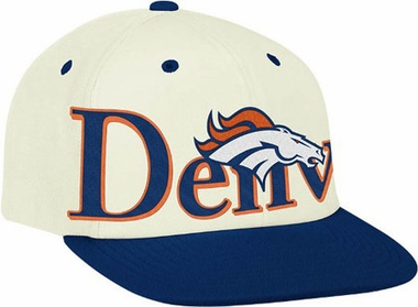 Denver Broncos Team Name and Logo Snapback Hat