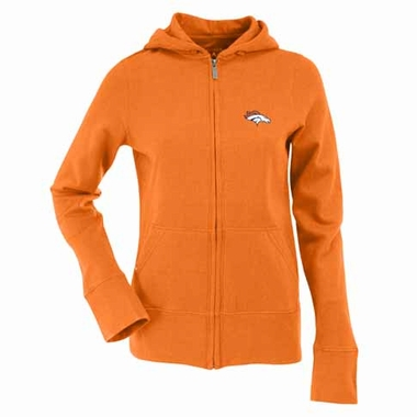 Denver Broncos Womens Zip Front Hoody Sweatshirt (Color: Orange)