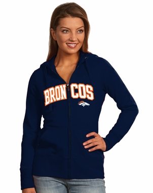 Denver Broncos Applique Womens Zip Front Hoody Sweatshirt (Color: Navy) - Large