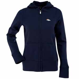 Denver Broncos Womens Zip Front Hoody Sweatshirt (Color: Navy) - Small