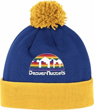 Denver Nuggets Vintage Jersey Stripe Cuffed Knit Hat w/ Pom