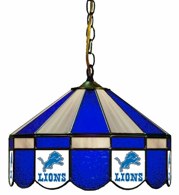 Detroit Lions 16 Inch Diameter Stained Glass Pub Light