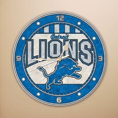 Detroit Lions Art Glass Clock