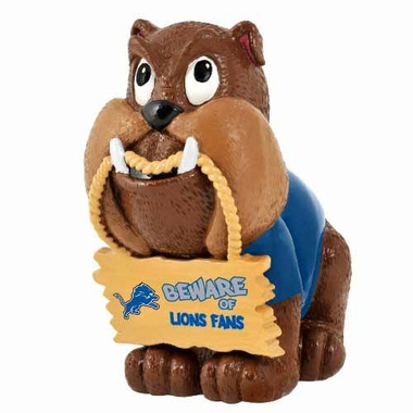 Detroit Lions Bulldog Holding Sign Figurine