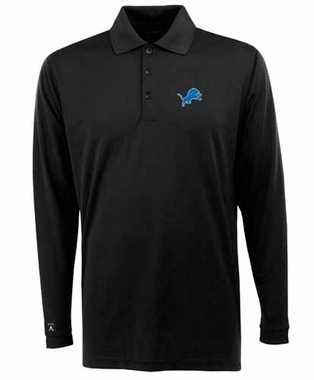 Detroit Lions Mens Long Sleeve Polo Shirt (Color: Black)