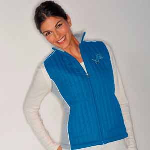 Detroit Lions Women's NFL Rally Full Zip Quilted Vest Jacket - Medium