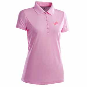Detroit Lions Womens Pique Xtra Lite Polo Shirt (Color: Pink) - Large