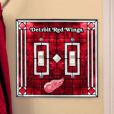 Detroit Red Wings Art Glass Lightswitch Cover (Double)