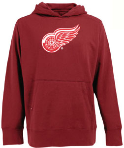Detroit Red Wings Big Logo Mens Signature Hooded Sweatshirt (Color: Red) - Small