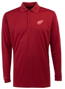 Detroit Red Wings Mens Long Sleeve Polo Shirt (Color: Red) - Small