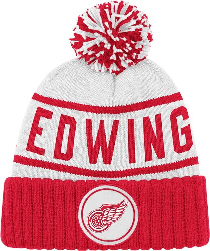 f02ea185f47 Detroit Red Wings Mitchell   Ness NHL High 5 Cuffed Premium Pom Knit Hat -  White