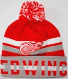 1768941f684 Detroit Red Wings Mitchell   Ness Trifecta Premium Cuffed Knit Hat w  Pom