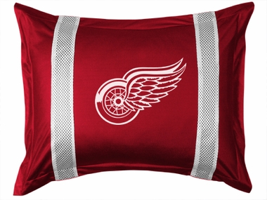 Detroit Red Wings SIDELINES Jersey Material Pillow Sham