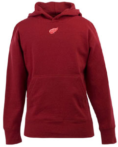 Detroit Red Wings YOUTH Boys Signature Hooded Sweatshirt (Color: Red) - Small