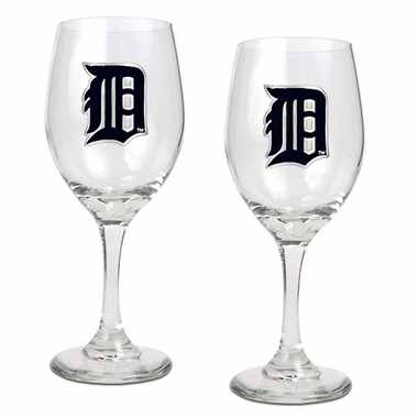 Detroit Tigers 2 Piece Wine Glass Set