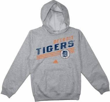 Detroit Tigers Adidas YOUTH MLB Slanted Stripes Grey Vintage Hooded Sweatshirt