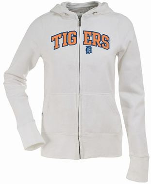 Detroit Tigers Applique Womens Zip Front Hoody Sweatshirt (Color: White)