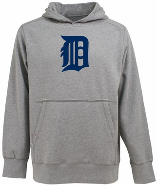 Detroit Tigers Mens Big Logo Signature Hooded Sweatshirt (Color: Silver)