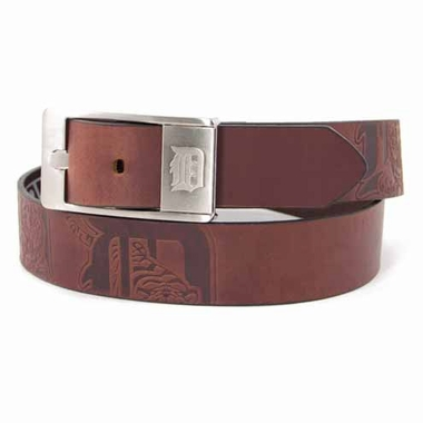 Detroit Tigers Brown Leather Brandished Belt