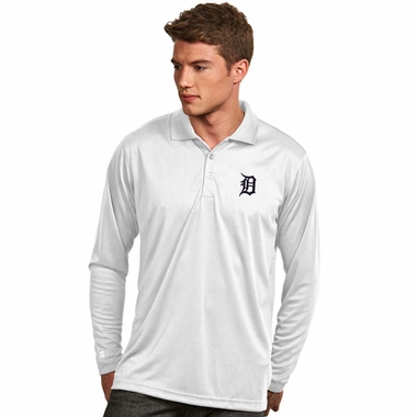 Detroit Tigers Mens Long Sleeve Polo Shirt (Color: White) - Large