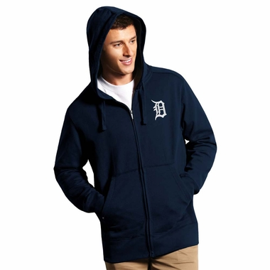 Detroit Tigers Mens Signature Full Zip Hooded Sweatshirt (Color: Navy) - Medium