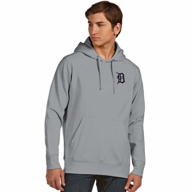 Detroit Tigers Mens Signature Hooded Sweatshirt (Color: Gray) - Small