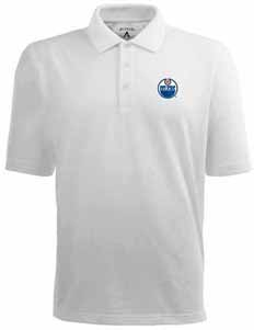 Edmonton Oilers Mens Pique Xtra Lite Polo Shirt (Color: White) - Medium