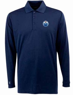Edmonton Oilers Mens Long Sleeve Polo Shirt (Color: Navy)