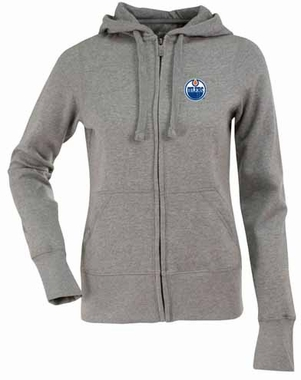 Edmonton Oilers Womens Zip Front Hoody Sweatshirt (Color: Gray)