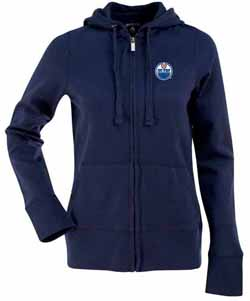 Edmonton Oilers Womens Zip Front Hoody Sweatshirt (Color: Navy) - X-Large