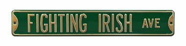 Fighting Irish Ave Green Street Sign