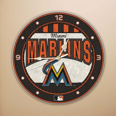 Miami Marlins Art Glass Clock