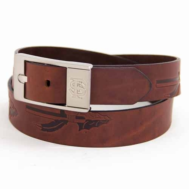 Florida State Brown Leather Brandished Belt
