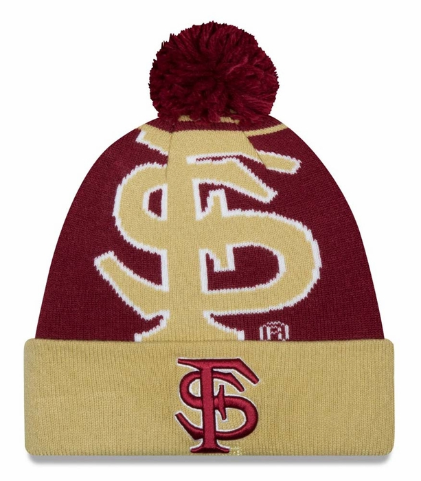 c6bdf49daeb Florida State Seminoles New Era Logo Whiz Cuffed Knit Hat with Pom
