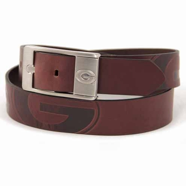 Georgia Brown Leather Brandished Belt