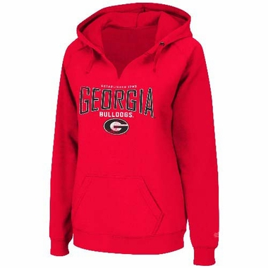 Georgia Bulldogs Women's Throwback Hooded V-neck Sweatshirt - Red