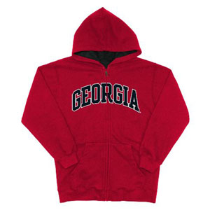 Georgia Embroidered Full-Zip Hooded Sweatshirt (Team Color) - Medium