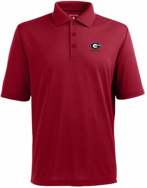 Georgia Mens Pique Xtra Lite Polo Shirt (Color: Red)