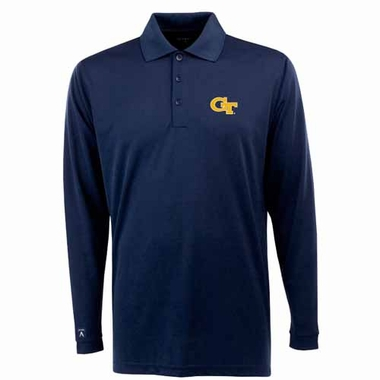 Georgia Tech Mens Long Sleeve Polo Shirt (Color: Navy)